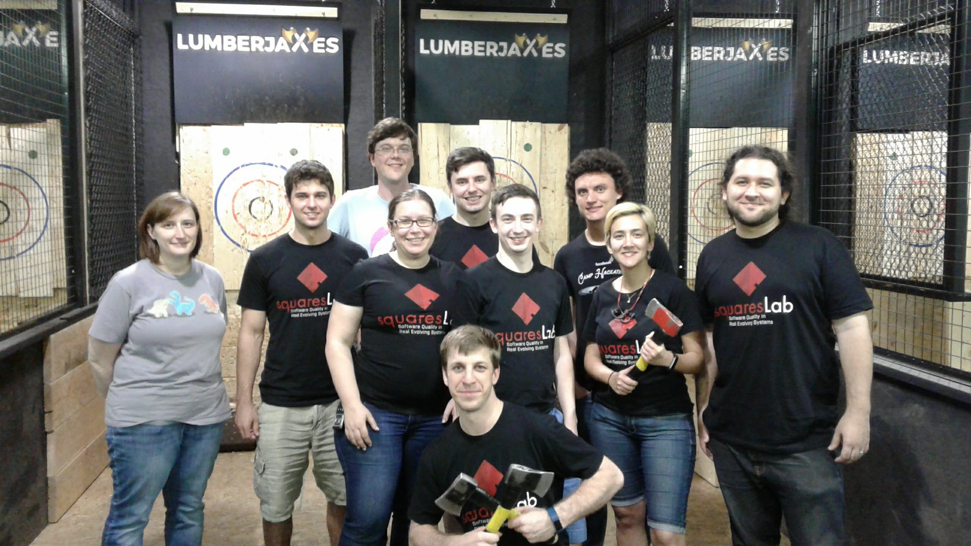 squaresLab in our squaresLab t-shirts after an axe throwing social event