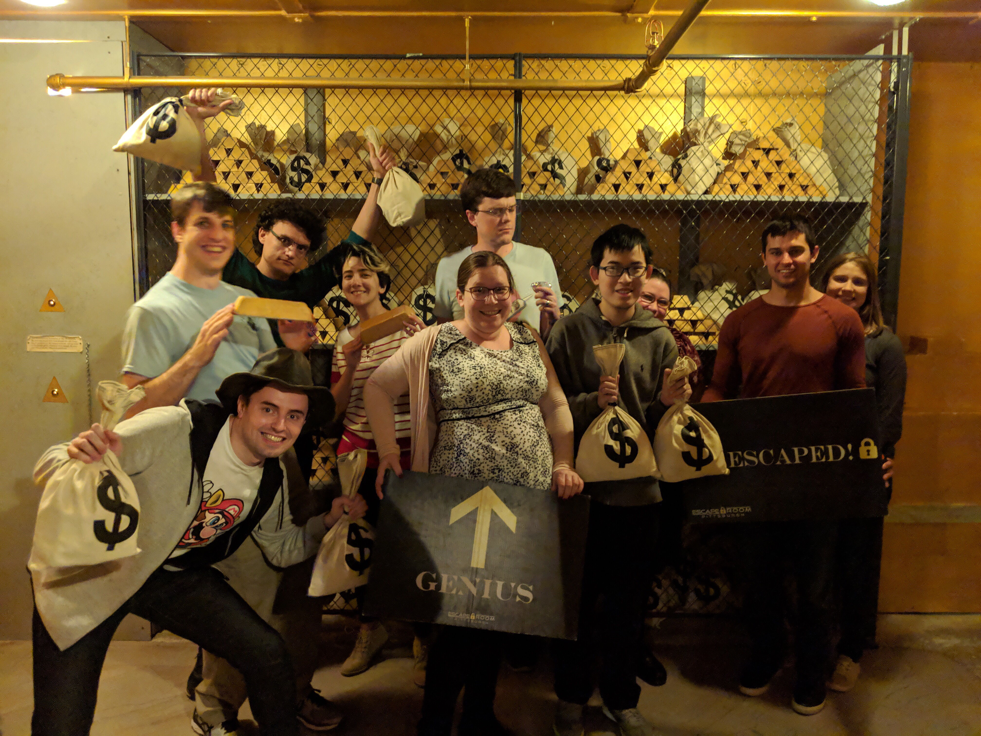 squaresLab after successfully solving Carnegie'$ Million$ at Escape Room Pittsburgh